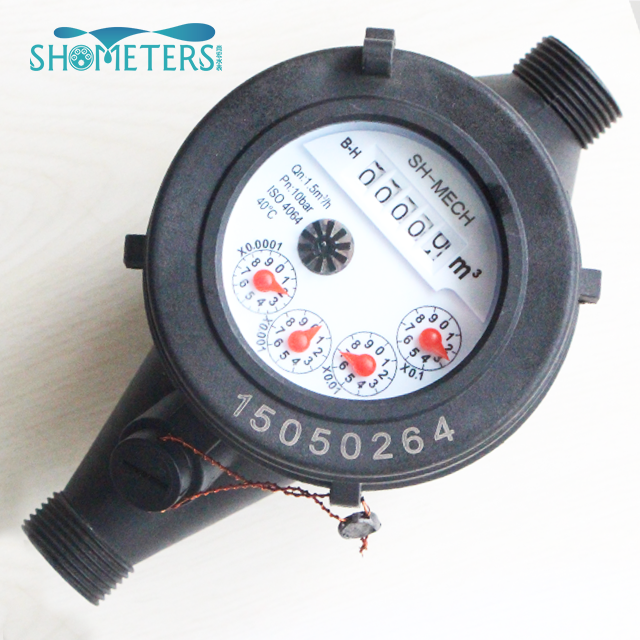 1 inch class b plastic multi jet pulse reed switch water meter